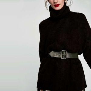 Zara Oversized Roll Neck Chunky Sweater in Black S